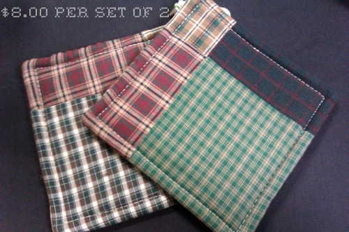 plaid pot holders